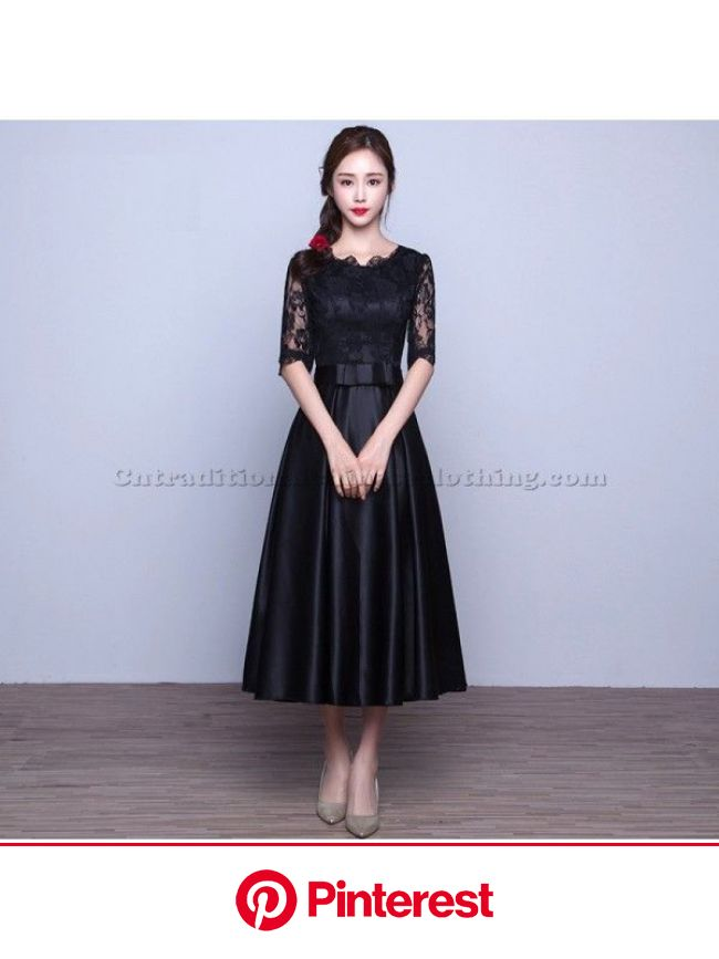 2018 New Tea Length Black Traditional Dress With Half Sleeves Zipper Lace Party Dress With Bowknot | Black tea length dress, Lace party dresses, Forma