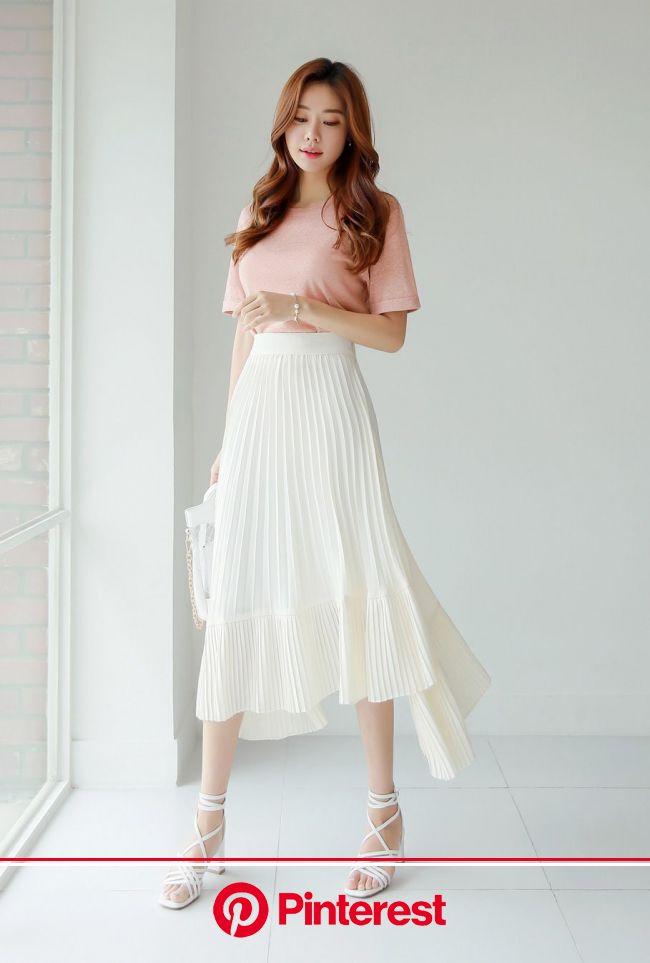 ミックスプリーツアンバランスロングスカート | ボーホースタイル, ロングスカート, 韓国の女の子のファッション