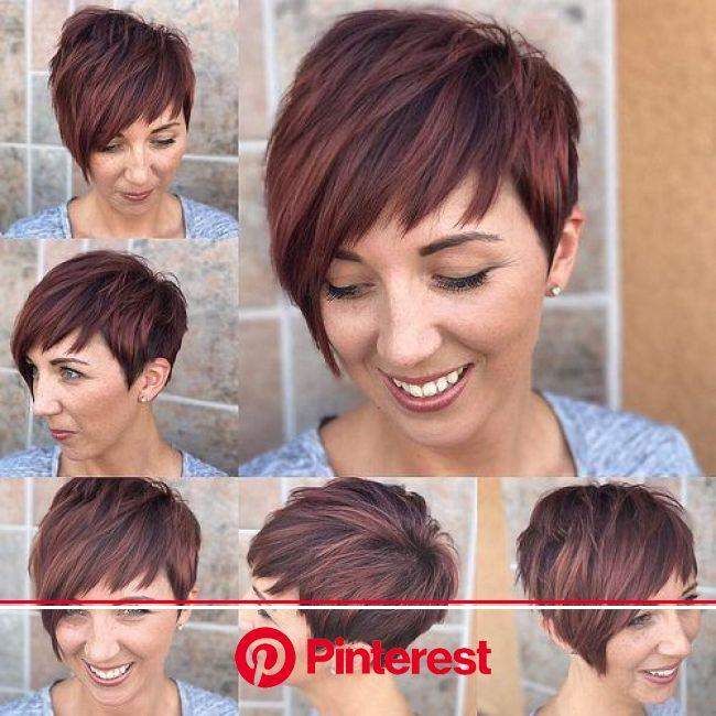 Shaggy Asymmetrical Pixie with Asymmetrical Bangs on Highlighted Burgundy Hair | Thick hair styles, Short hair styles, Pixie haircut