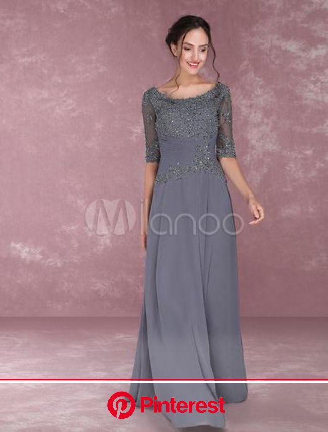 Grey Party Dresses Lace Applique Beading Mother Of The Bride Dresses Chiffon Half Sleeve Ple… | Pleated party dress, Grey party dresses, Mother of the
