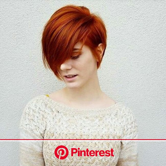 Picture of a magnificent short bob with dark copper red color | Short red hair, Short hair styles, Thick hair styles