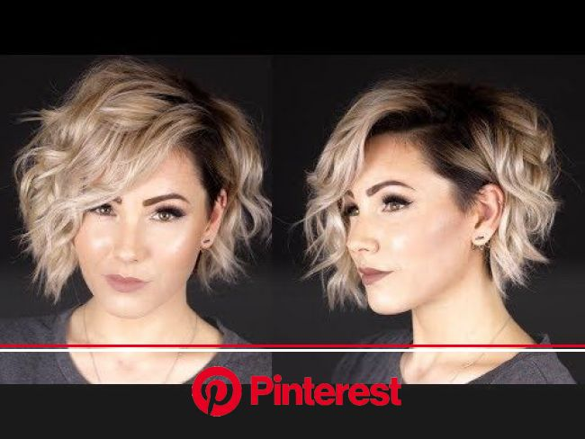 Women's Short Blunt Bob with Side Swept Wavy Texture and Subtle Highlights on Wheat Blonde… | How to curl short hair, Voluminous curls short hair