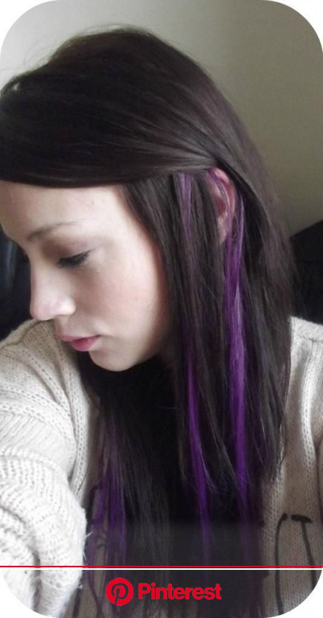 Purple Streaks in My Hair - I&K; Clip in Highlight. - Paperblog | Hair color purple, Hair color streaks, Purple brown hair