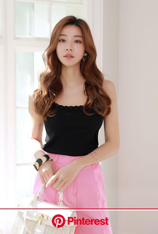 透かしラインリブニットキャミソール | ニットキャミソール, 韓流ファッション, 女子ファッション