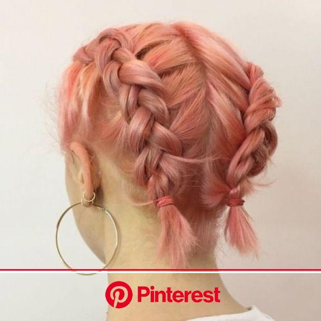 ♡pinterest ~ areweleavin♡ || #hair #pink #dye #haircut #hairstyle #braids #short #bob #cute #simple #jewllery #e… | Hair styles, Peachy pink hair, Sho