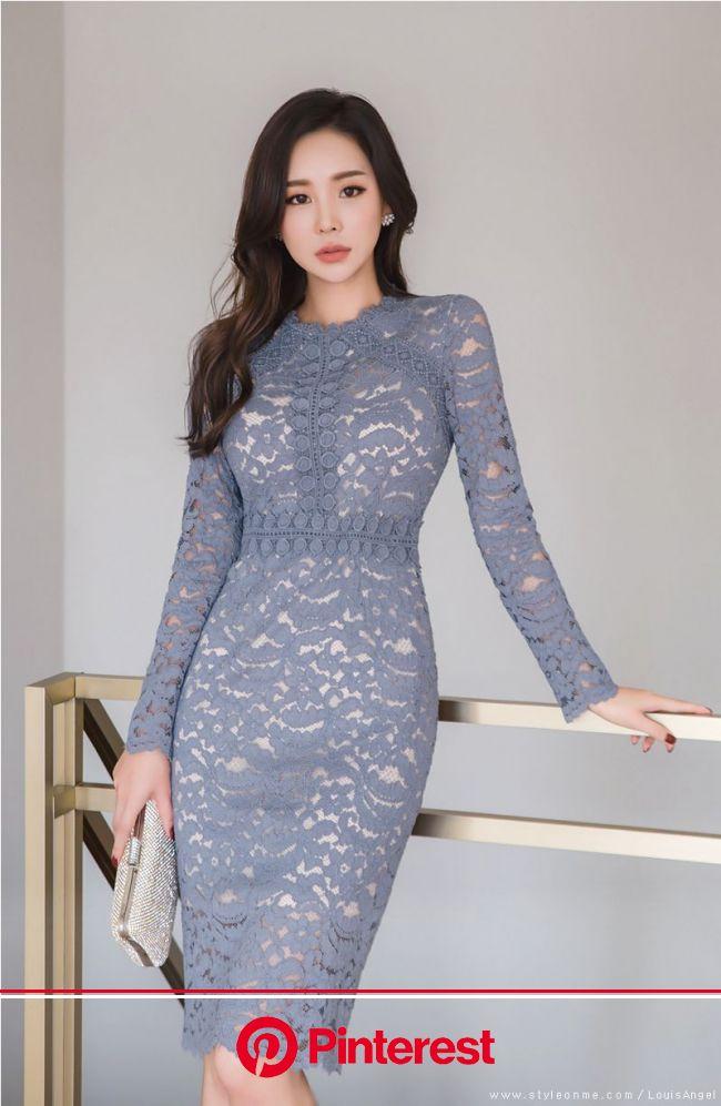 ゴージャスレーススリムシルエットワンピース | ドレス ファッション, スキニーファッション, 韓流ファッション