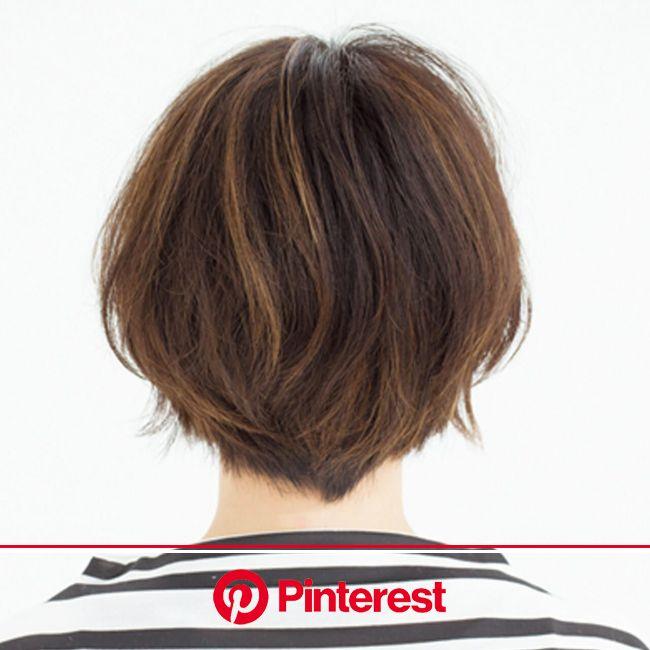 気になる白髪はグラデハイライトと深め前髪で解決!【40代のショートヘア】 | 短い髪のためのヘアスタイル